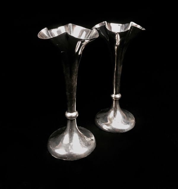 Victorian Solid Silver Horace Woodward & Co London Bud Vase Pair / Antique